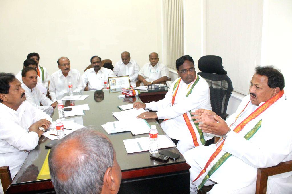 Telangana Congress chief Ponnala Lakshmaiah during a party meeting in Hyderabad on May 5, 2014.