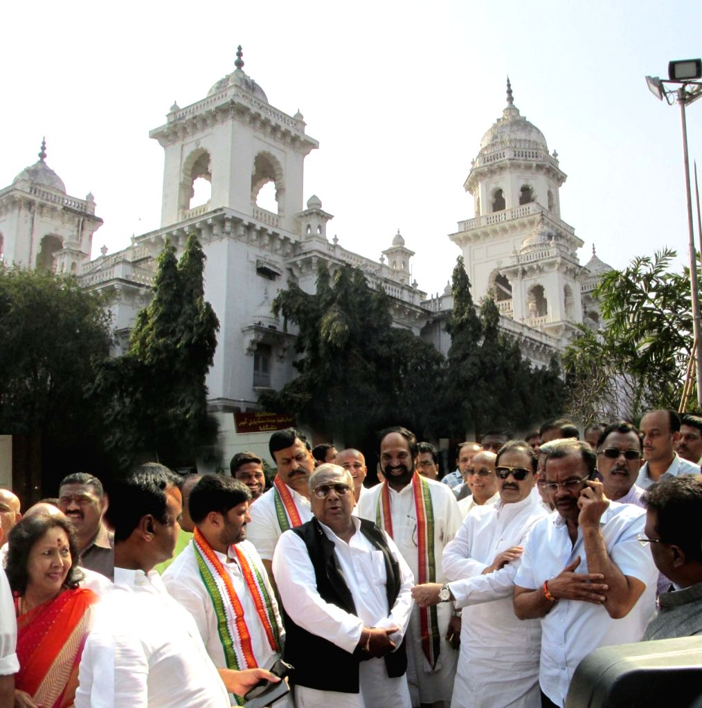 Telangana Congress chief Uttam Kumar Reddy and other party leaders arrive to meet Telangana Director General of Police (DGP) in connection with the murder of Nalgonda municipal chairperson ... - Uttam Kumar Reddy