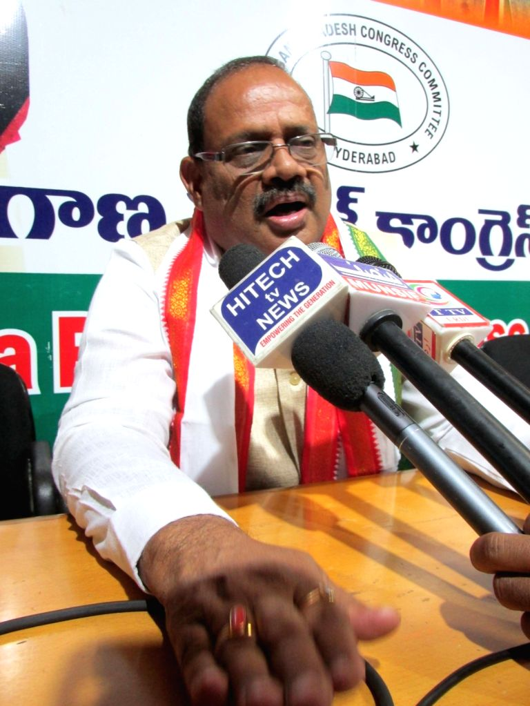Telangana Congress in-charge RC Khuntia talks to the media, in Hyderabad on May 26, 2018.
