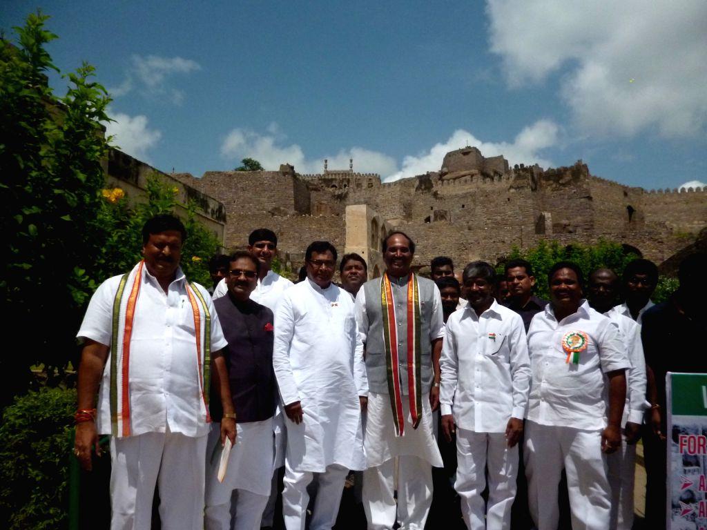 Telangana Congress leaders including N. Uttam Kumar Reddy, K.Jana Reddy, Mohammed Ali Shabbir during Independence Day celebrations at Golconda Fort  in Hyderabad, on Aug 15, 2015. - Jana Reddy