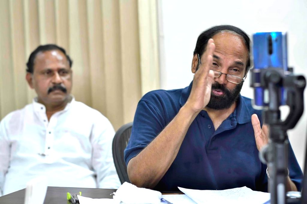 Telangana Congress President N. Uttam Kumar Reddy addresses a press conference via video conferencing, in Hyderabad on Aug 1, 2020.