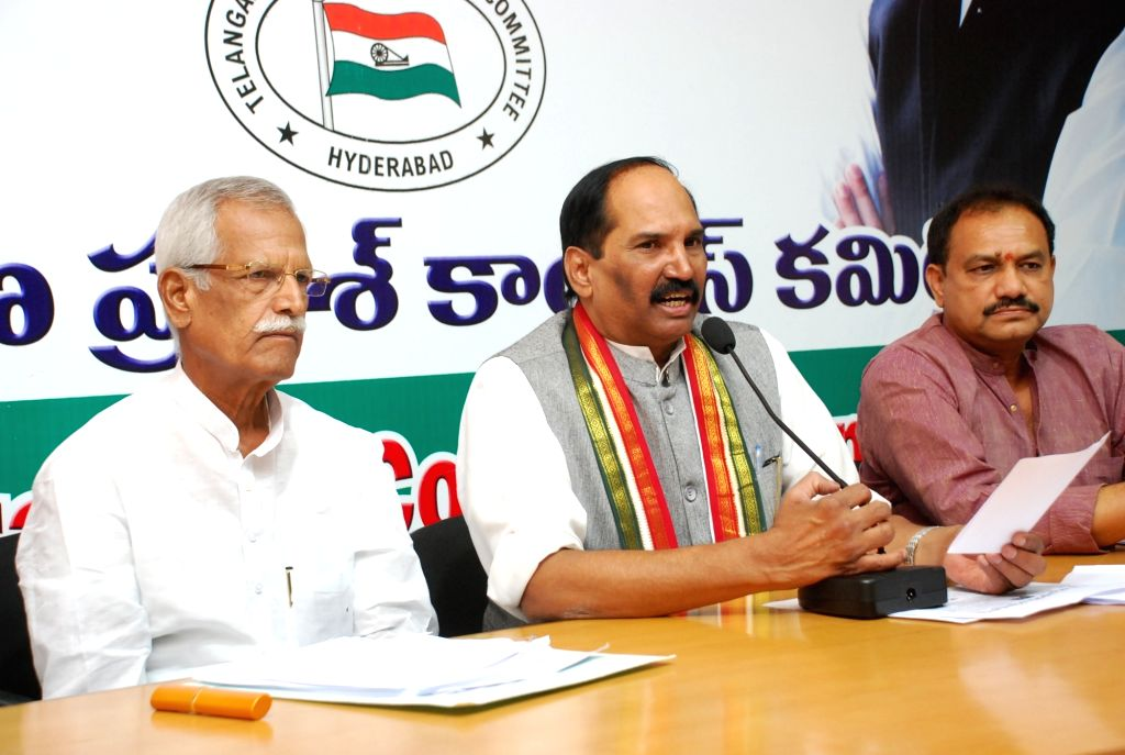Telangana Congress president N Uttam Kumar Reddy addresses a press conference in Hyderabad on July 5, 2016.