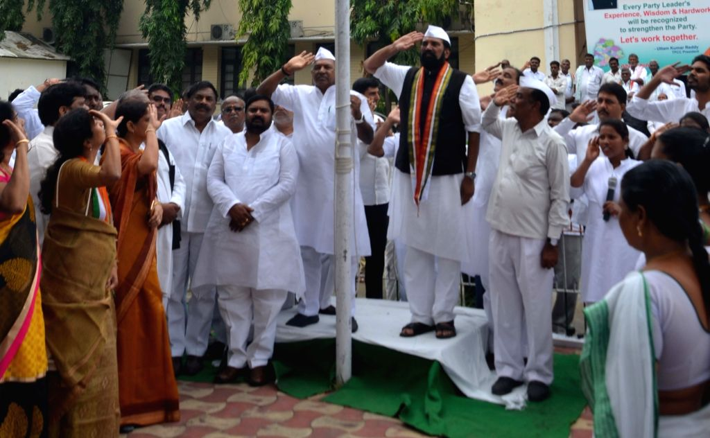 Telangana Congress president N. Uttam Kumar Reddy during flag hoisting on the occasion of 'Merger Day' in Hyderabad on Sept 17, 2017. It was on this day in 1948 that the erstwhile ...