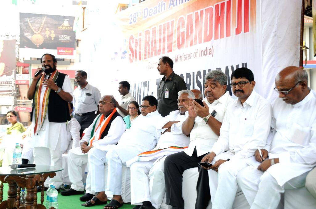 Telangana Congress President N. Uttam Kumar Reddy addresses during a programme organised on late Prime Minister Rajiv Gandhi's 28th death anniversary, in Hyderabad on May 21, 2019. - Rajiv Gandh