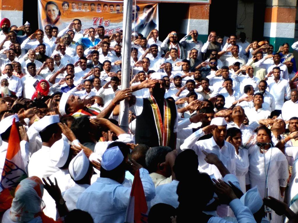 Telangana Congress President N. Uttam Kumar Reddy unfurls the tricolor at the flag hoisting ceremony during the 71st Republic Day celebrations at Gandhi Bhavan in Hyderabad on Jan 26, 2020.