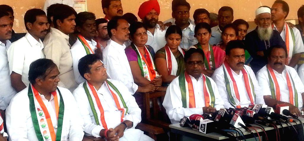 Telangana Congress president Ponnala Lakshmaiah addresses a press conference in Karimnagar district of Andhra Pradesh on April 13, 2014.