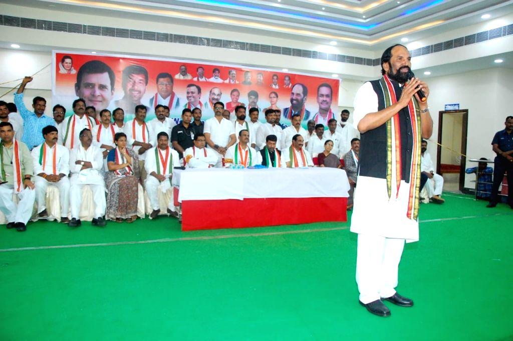 Telangana Congress president Uttam Kumar Reddy addresses at a party meeting, in Hyderabad on July 15, 2018. - Uttam Kumar Reddy
