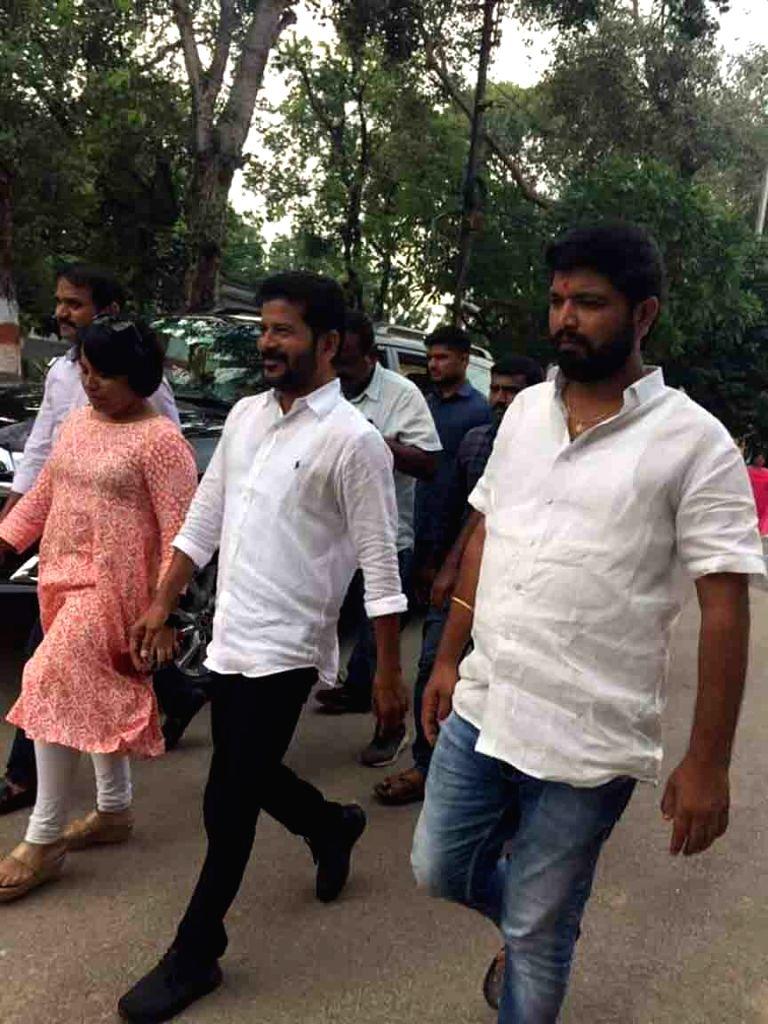 Telangana Congress Working President Revanth Reddy arrives to meet Former TV9 CEO Ravi Prakash at Chanchalguda jail, in Hyderabad on Oct 7, 2019. - Revanth Reddy