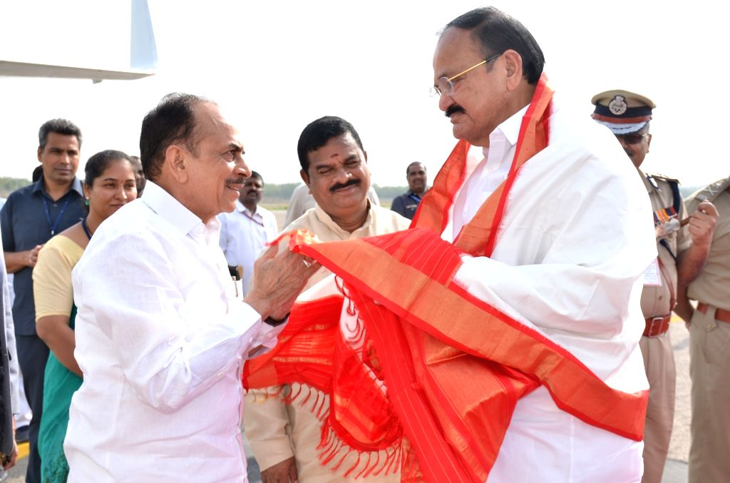 Telangana Deputy Chief Minister Mohammad Mahmood Ali receives Vice President M. Venkaiah Naidu on his arrival at Begumpet Airport in Hyderabad on May 21, 2018. - Mohammad Mahmood Ali and M. Venkaiah Naidu