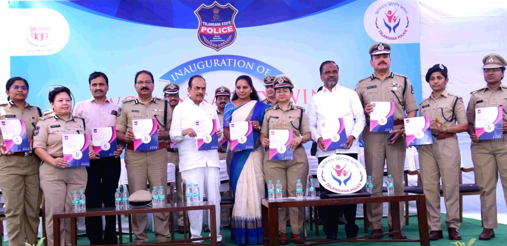 Telangana Deputy Chief Minister Mohammed Mahmood Ali and TRS MP K Kavitha during a programme organised to inaugurate Women Safety Wing of state police in Hyderabad on March 8, 2019. - Mohammed Mahmood Ali