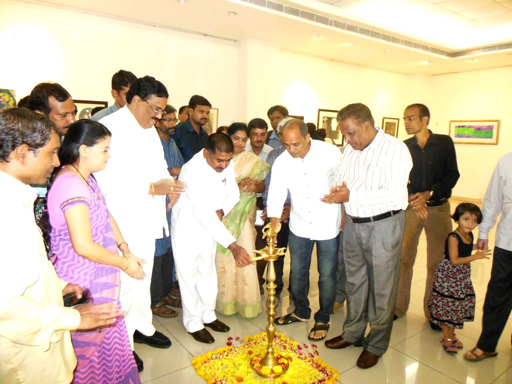 Telangana Education Minister G. Jagadish Reddy inaugurates an art exhibition at State Gallery of Art, Kavoori Hills, Madhapur in Hyderabad on July 8, 2014.