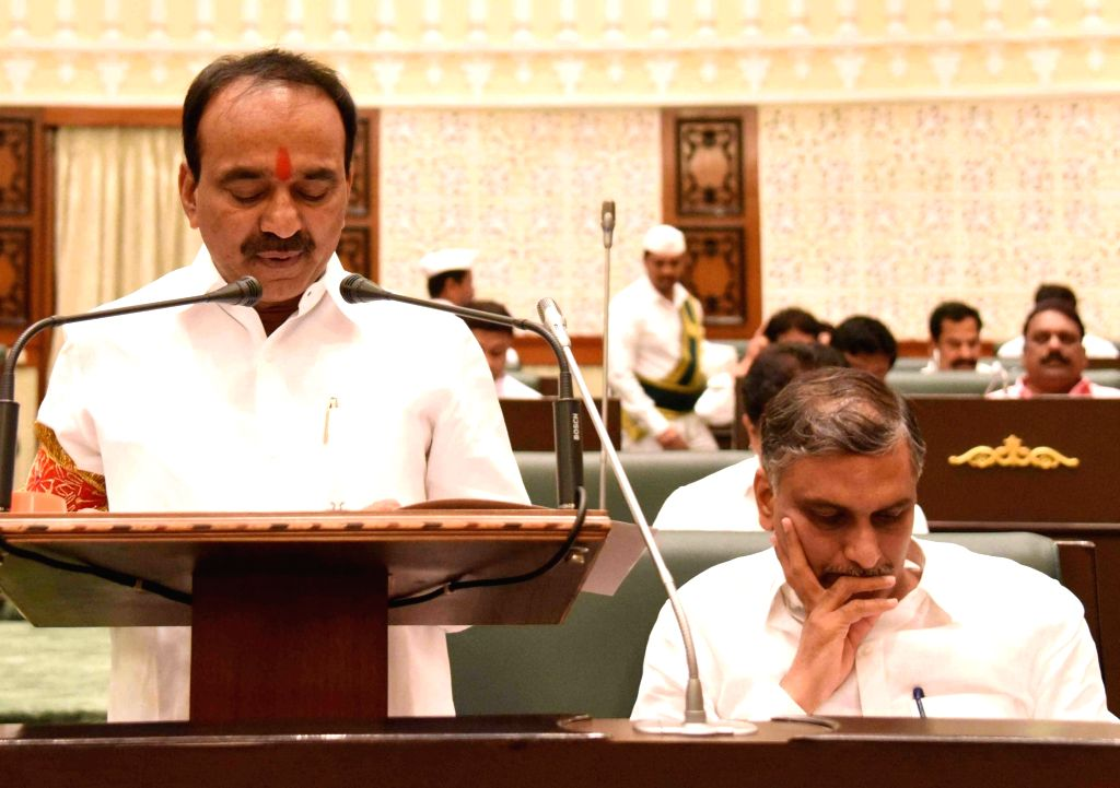 Telangana Finance Minister E Rajender presents budget at the State Assemble in Hyderabad on March 13, 2017. - E Rajender