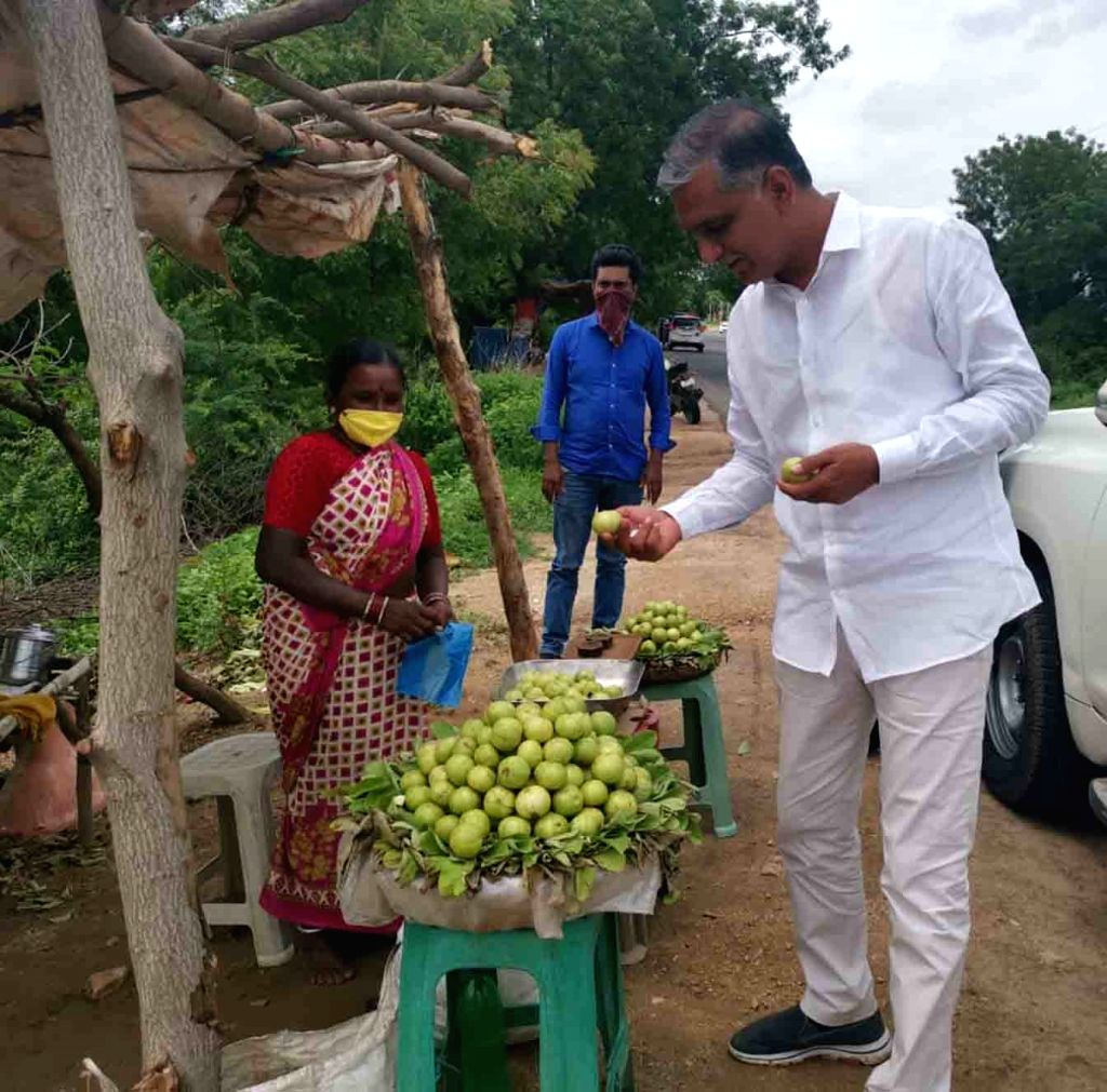 Telangana Finance Minister T. Harish Rao during his visit to Siddipet district, on July 4, 2020. - T. Harish Rao
