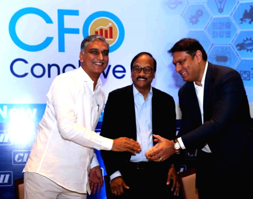 Telangana Finance Minister T Harish Rao during the inauguration of CFO conclave organised by CII in Hyderabad on Dec 5, 2019. - T Harish Rao