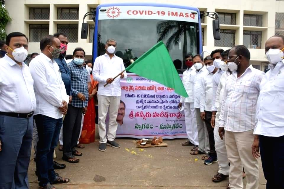 Telangana Finance Minister T. Harish Rao flags off a Coronavirus Mobile Testing Vehicle in Siddipet on Aug 14, 2020. - T. Harish Rao