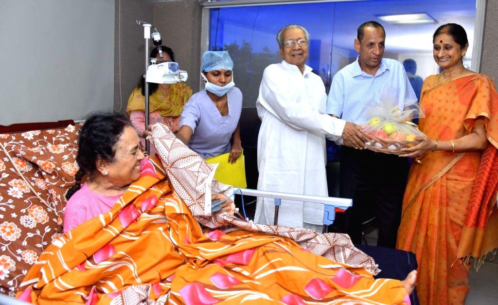 Telangana Governor E. S. L. Narasimhan and her wife Vimala Narasimhan visit Andhra Pradesh Governor Biswa Bhusan Harichandan's wife Suprava Harichandan, who underwent a knee surgery, in ...
