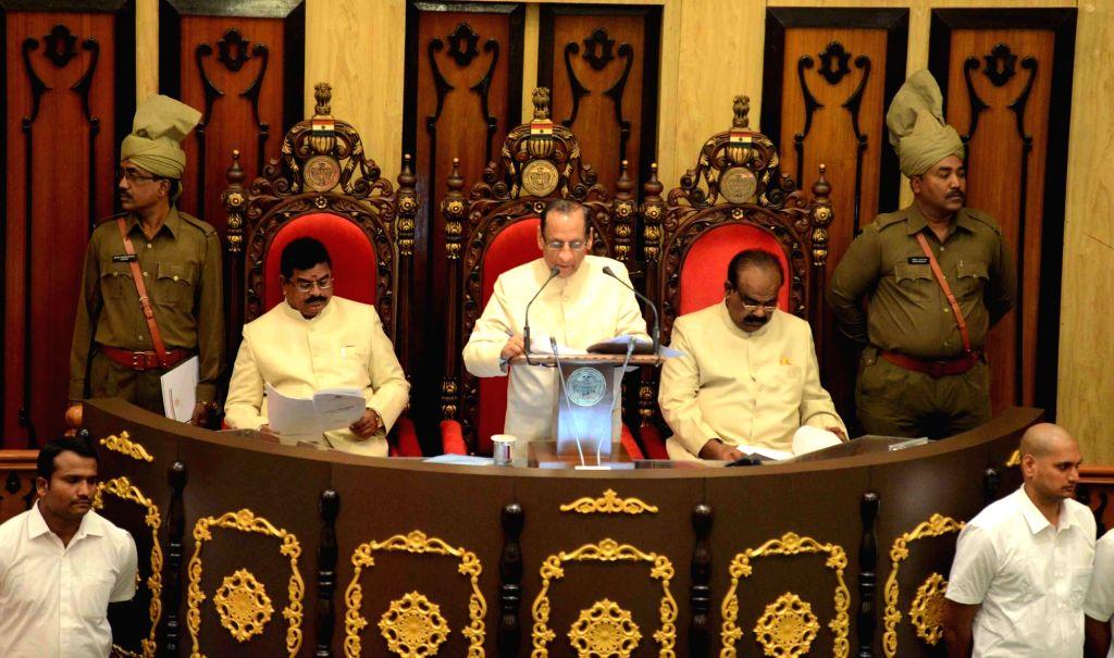 Telangana Governor ESL Narasimhan addresses during budget session of Telangana Legislative Assembly in Hyderabad on March 10, 2017.