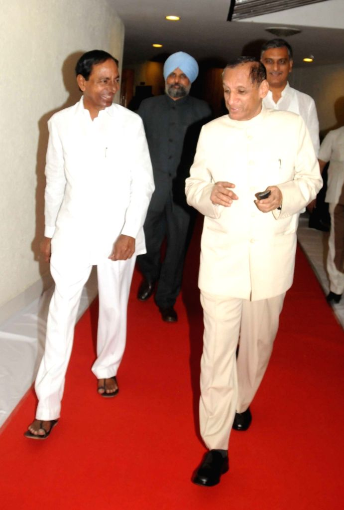Telangana Governor ESL Narasimhan and Chief Minister K Chandrasekhar Rao arrive to attend budget session of State Legislative Assembly in Hyderabad on March 10, 2017. - K Chandrasekhar Rao
