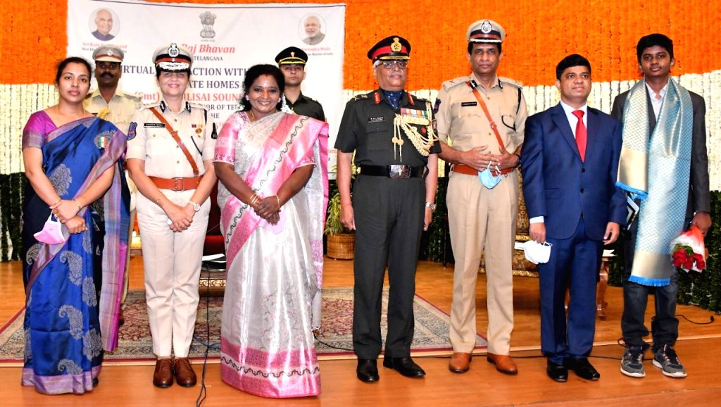 Telangana governor felicitates Col Santosh Babu's wife