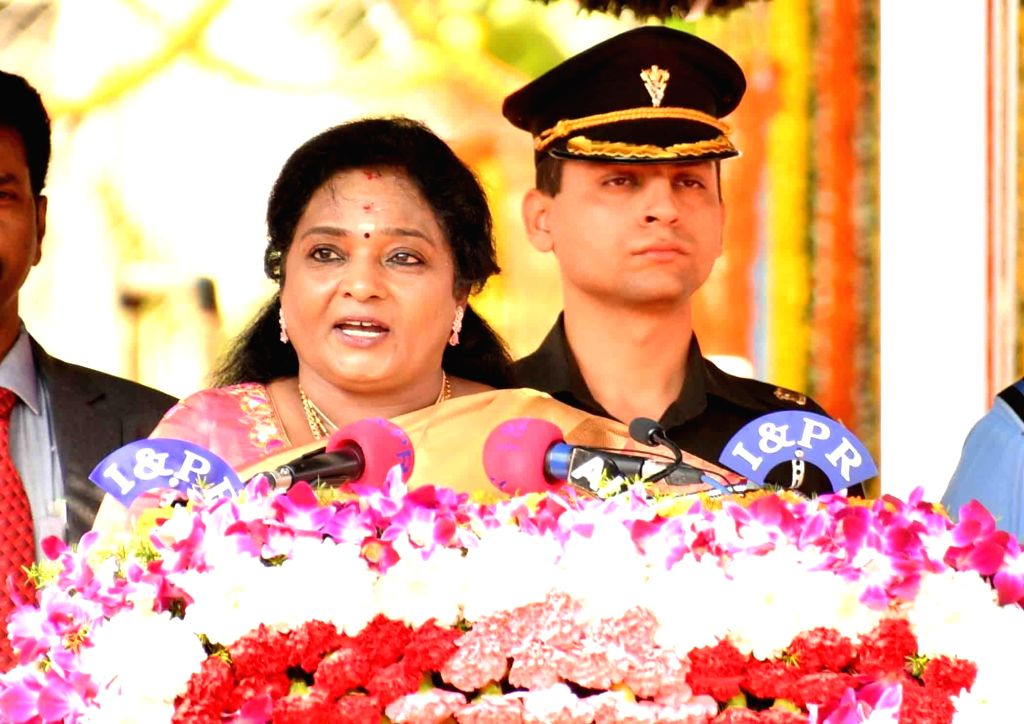 Telangana Governor Tamilisai Soundararajan addresses during the 71st Republic Day celebrations, at Public Garden Lawns in Hyderabad on Jan 26, 2020.