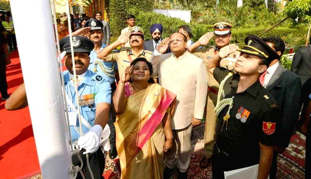 Telangana Governor Tamilisai Soundararajan salutes the tricolor at the flag hoisting ceremony during the 71st Republic Day celebrations, at Public Garden Lawns in Hyderabad on Jan 26, 2020.