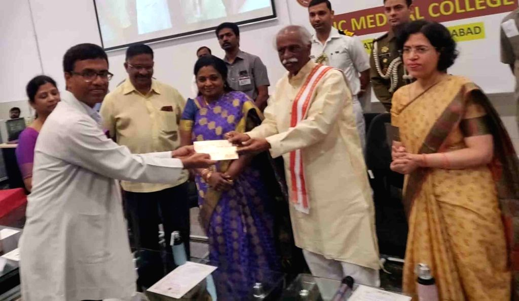 Telangana Governor Tamilisai Soundararajan and Himachal Pradesh Governor Bandaru Dattatreya during a programme at Employees State Insurance Corporation (ESIC) Medical College and Hospital, ...