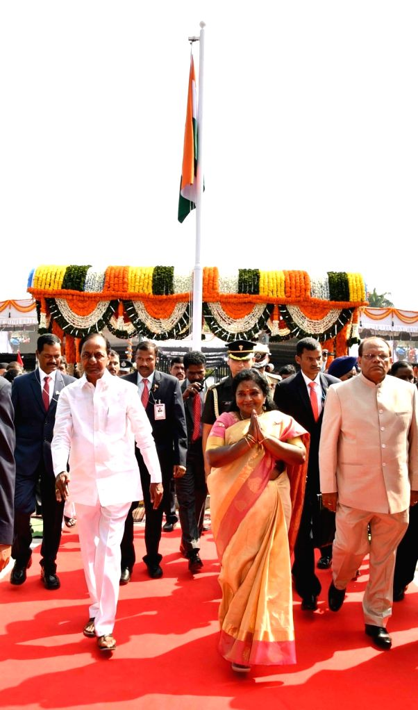 Telangana Governor Tamilisai Soundararajan and Chief Minister K. Chandrashekar Rao during the 71st Republic Day celebrations, at Public Garden Lawns in Hyderabad on Jan 26, 2020. - K. Chandrashekar Rao