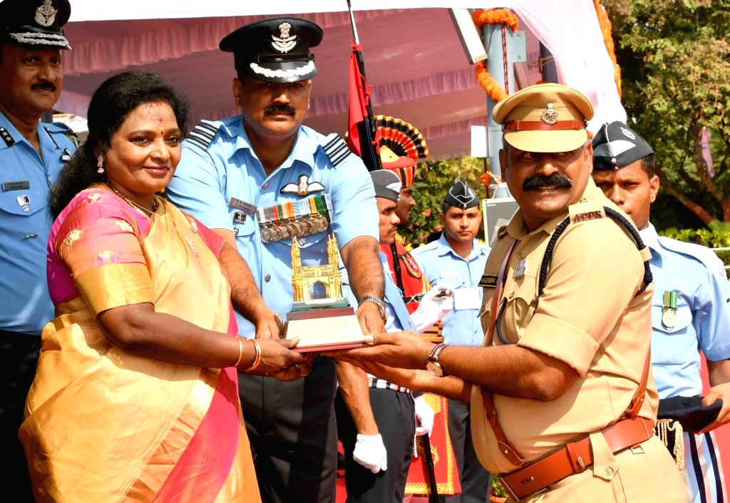 Telangana Governor Tamilisai Soundararajan during the 71st Republic Day celebrations, at Public Garden Lawns in Hyderabad on Jan 26, 2020.