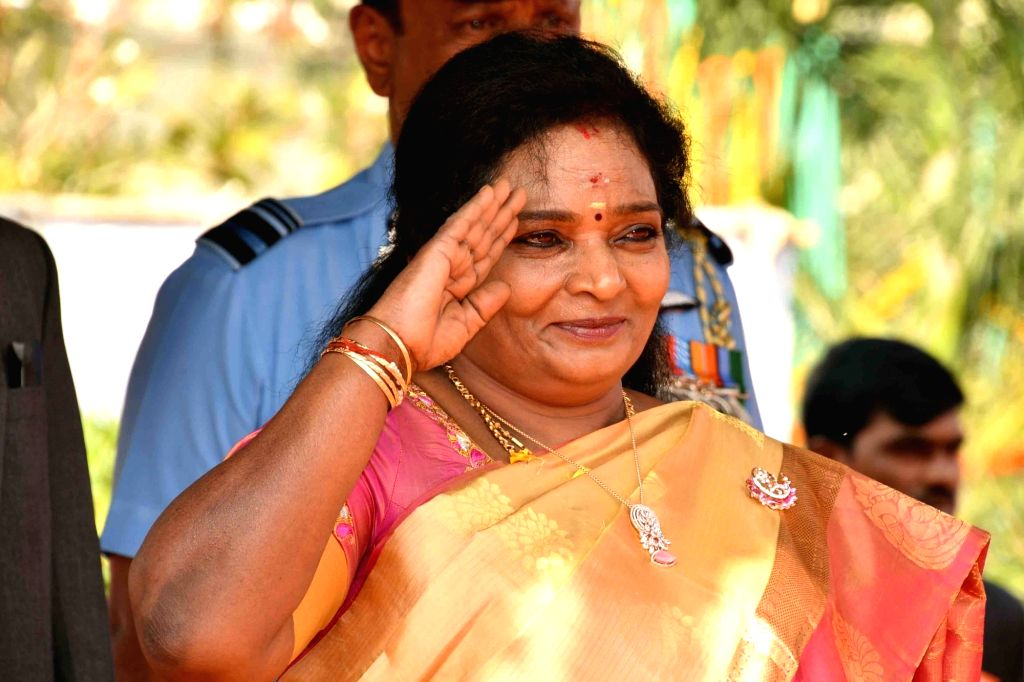Telangana Governor Tamilisai Soundararajan takes the salute during the 71st Republic Day celebrations, at Public Garden Lawns in Hyderabad on Jan 26, 2020.
