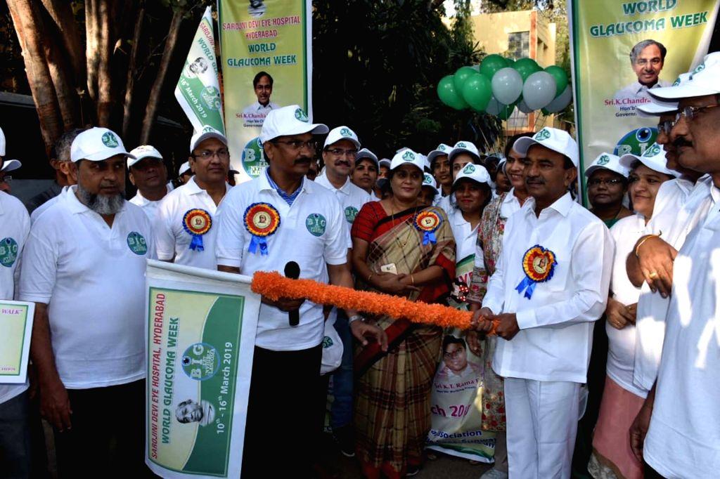 Telangana Health Minister E. Rajender flags off World Glaucoma Week at Sarojini Devi Eye Hospital in Hyderabad, on March 10, 2019. - E. Rajender