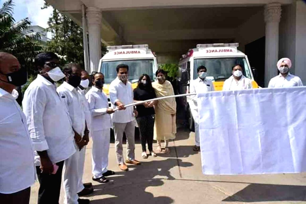 Telangana Health Minister Eatala Rajender and Municipal Administration and Urban Development Minister KT Rama Rao flag off six COVID-19 response ambulances, in Hyderabad on July 30, 220. - Eatala Rajender and Rao