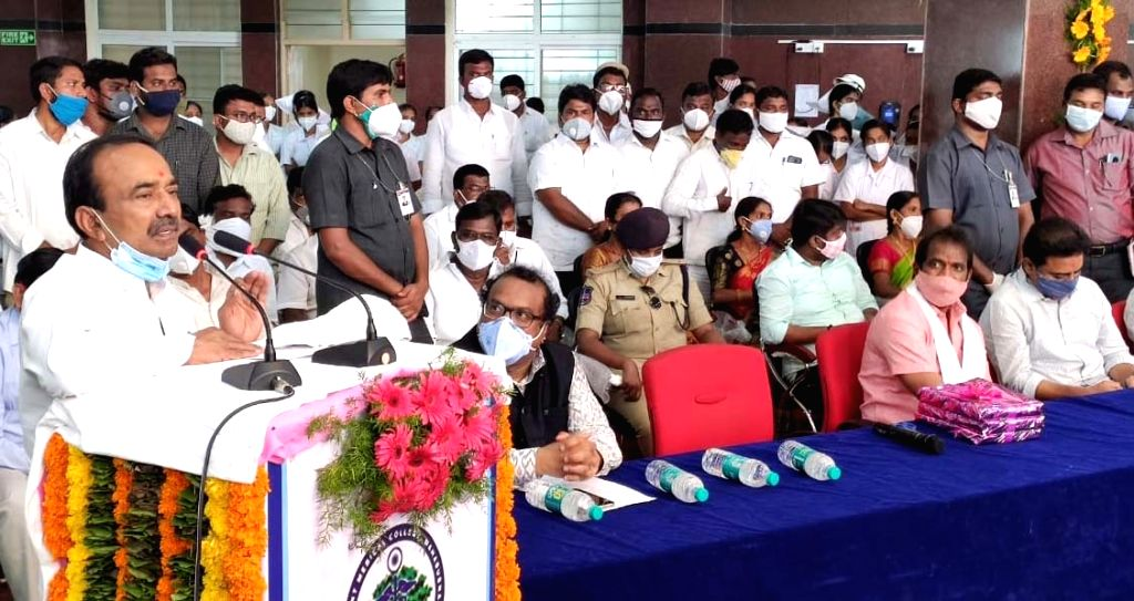 Telangana Health Minister Etela Rajender addresses at the inauguration of KCR Eco Urban Park in Mahabubnagar district on July 13, 2020. - Etela Rajender