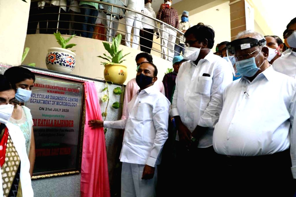 Telangana Health Minister Etela Rajender at the inauguration of Molecular Diagnostic Centre in Khammam district on July 31, 2020. - Etela Rajender