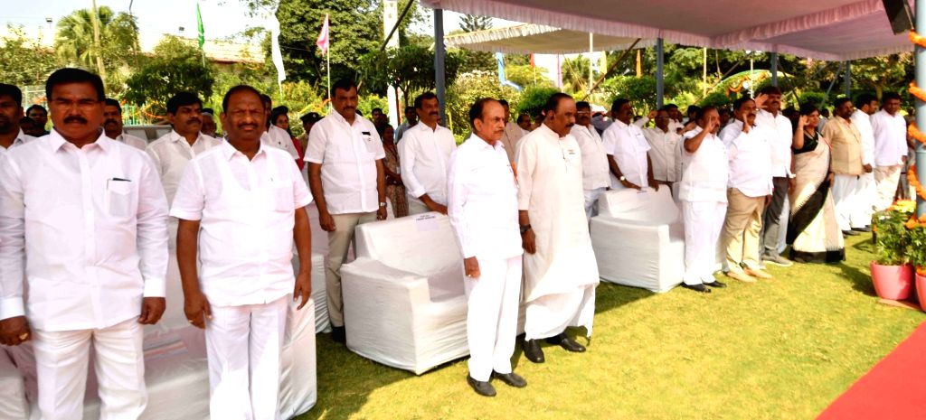 Telangana Home Minister Mohammed Mahmood Ali during the 71st Republic Day celebrations, at Public Garden Lawns in Hyderabad on Jan 26, 2020. - Mohammed Mahmood Ali