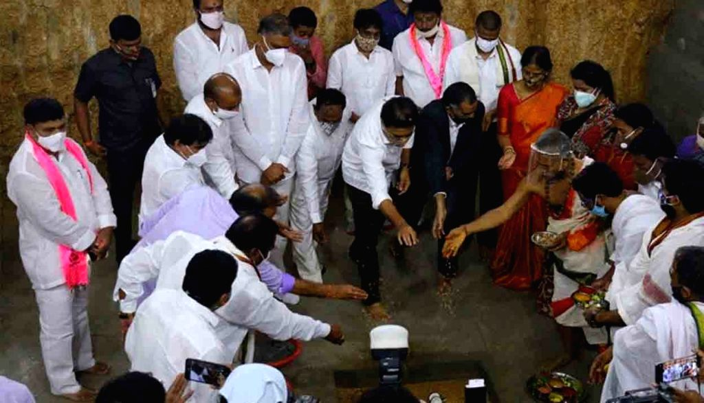 Telangana Industries and IT Minister KT Rama Rao at the groundbreaking ceremony of Medha rail coach factory in Kondakal of Shankarpally Mandal in Rangareddy district on Aug 13, 2020. ... - K and Rao