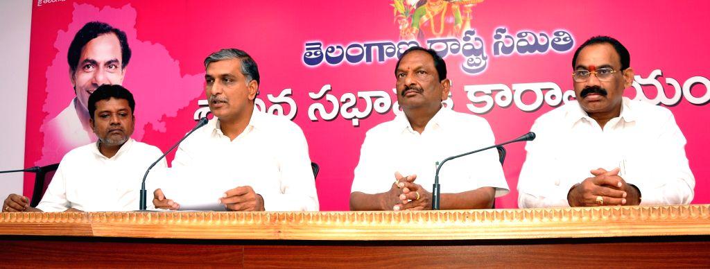 Telangana Irrigation Minister and Telangana Rashtra Samithi (TRS) MLA T. Harish Rao talks to the press at the state assembly in Hyderabad on March 29, 2018. - T. Harish Rao