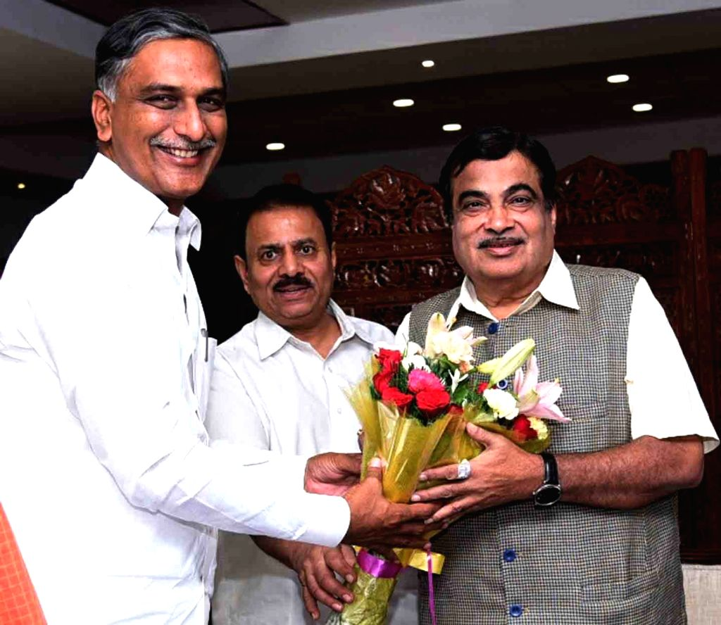 Telangana Irrigation Minister Harish Rao meets Union Transport Minister Nitin Gadkari, in New Delhi, on July 17, 2018. - Harish Rao