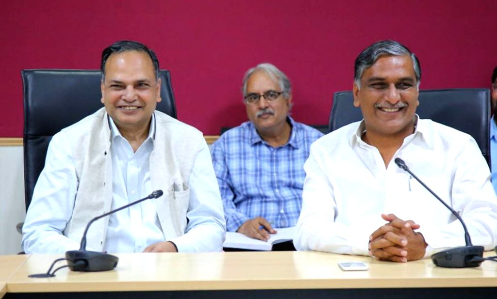 Telangana Irrigation minister T. Harish Rao (R) and the state's Chief Secretary S.K. Joshi (L) during a meeting on irrigation water disputes in New Delhi on Feb 14, 2018. - T. Harish Rao and K. Joshi