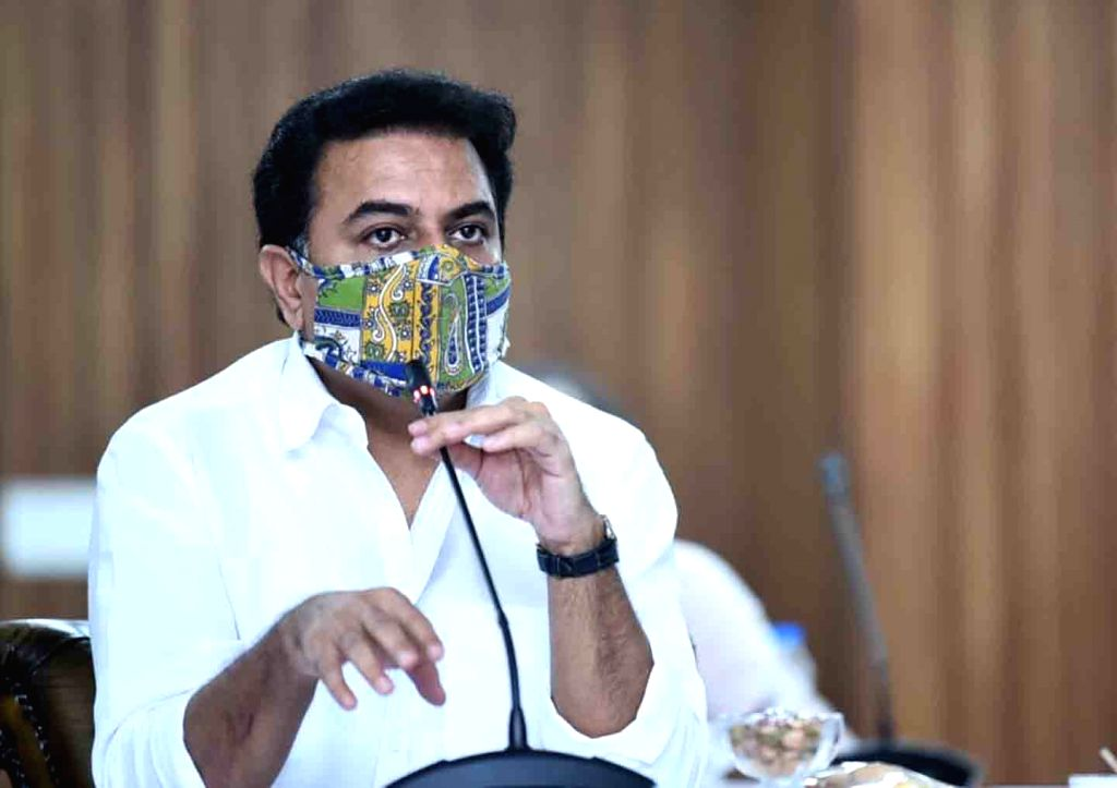 Telangana IT and Industries Minister KT Rama Rao addresses during a meeting held to discuss Telangana food processing policy and logistics policies and to formulate guidelines, at Pragati ... - K and Rao