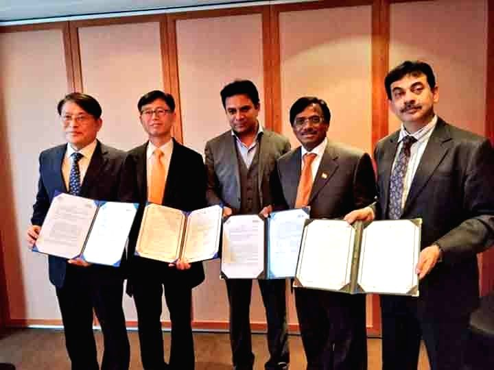 Telangana IT, Industries and Urban Development Minister K.T. Rama Rao during an MoU signing ceremony with investors in Seoul, South Korea on Jan 16, 2018. - K. and T. Rama Rao
