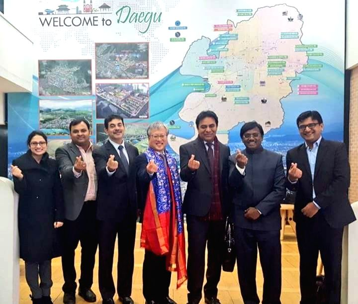 Telangana IT, Industries and Urban Development Minister K.T. Rama Rao and Daegu city Vice Mayor Yon Chang Kim during a meeting in Seoul, South Korea on Jan 16, 2018. - K. and T. Rama Rao