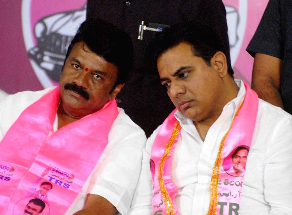 Telangana IT Minister and TRS leader K.T. Rama Rao and party leader Talasani Srinivas Yadav during a party programme, in Telangana's Secunderabad on Sept 16, 2018. - T. Rama Rao and Talasani Srinivas Yadav
