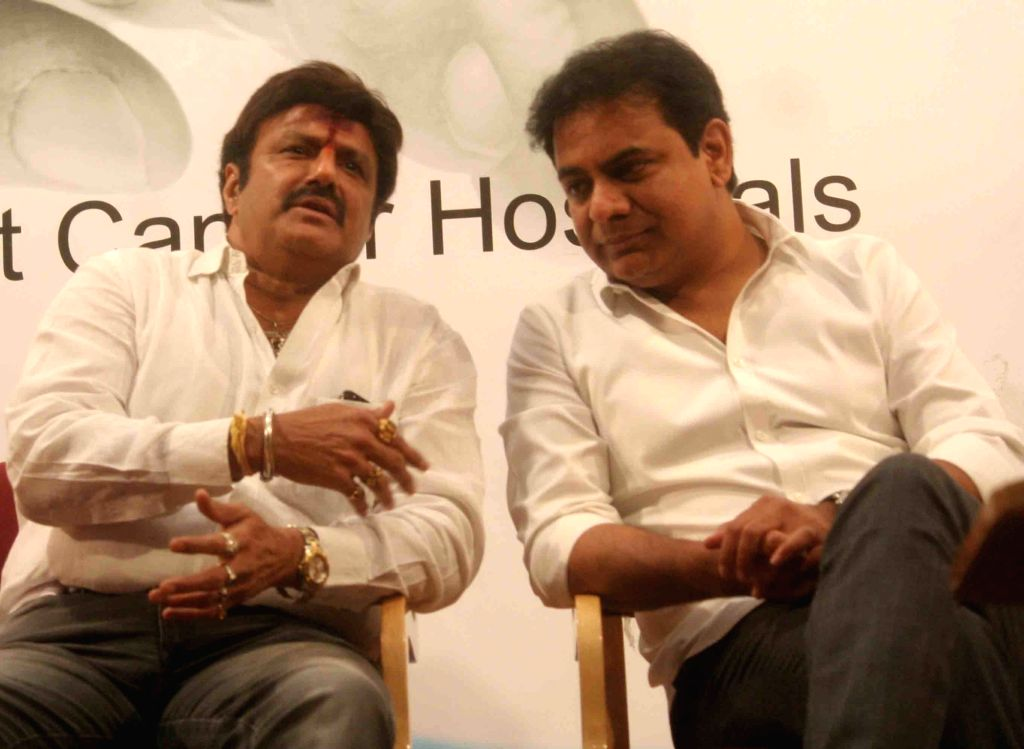Telangana IT Minister K.T. Rama Rao and actor-turned-politician Nandamuri Balakrishna during the inauguration of Indo-American Cancer Hospital and Research Institute, in Hyderabad on May ... - K. and T. Rama Rao