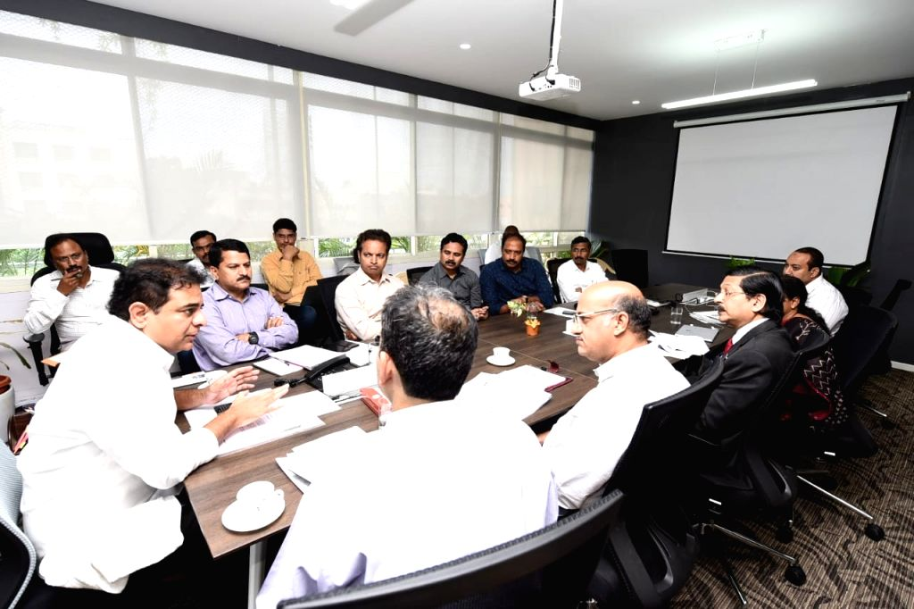 Telangana IT Minister K. T. Rama Rao presides over a review meeting with the ministry officials, in Hyderabad on Sep 13, 2019. - K. T. Rama Rao