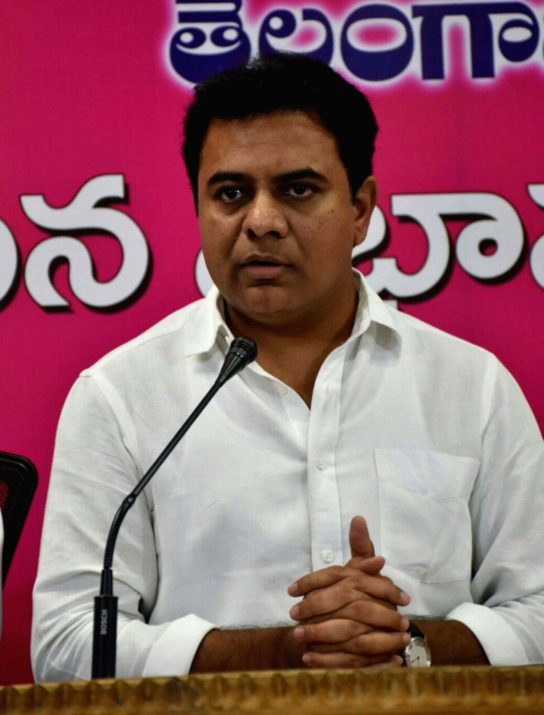 Telangana IT Minister KT Rama Rao addresses a press conference in Hyderabad on July 25, 2017. - K and Rao