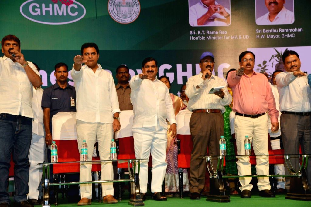 Telangana IT minister KT Rama Rao during the launch of Eco-Ganesha distribution and awareness programme initiative in Hyderabad on Aug 17, 2017. - K and Rao