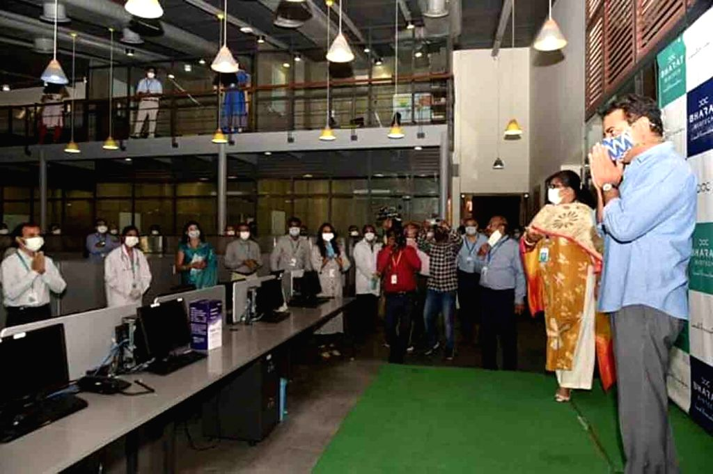 Telangana IT Minister KT Rama Rao interacts with the employees of Bharat Biotech in Hyderabad on Aug 4, 2020. - K and Rao
