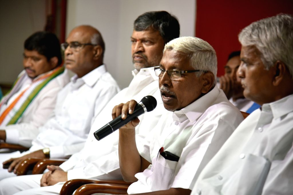 Telangana Jana Samithi leader M. Kodandaram addresses a press conference over the alleged fudging of Intermediate results, in Hyderabad on April 27, 2019.