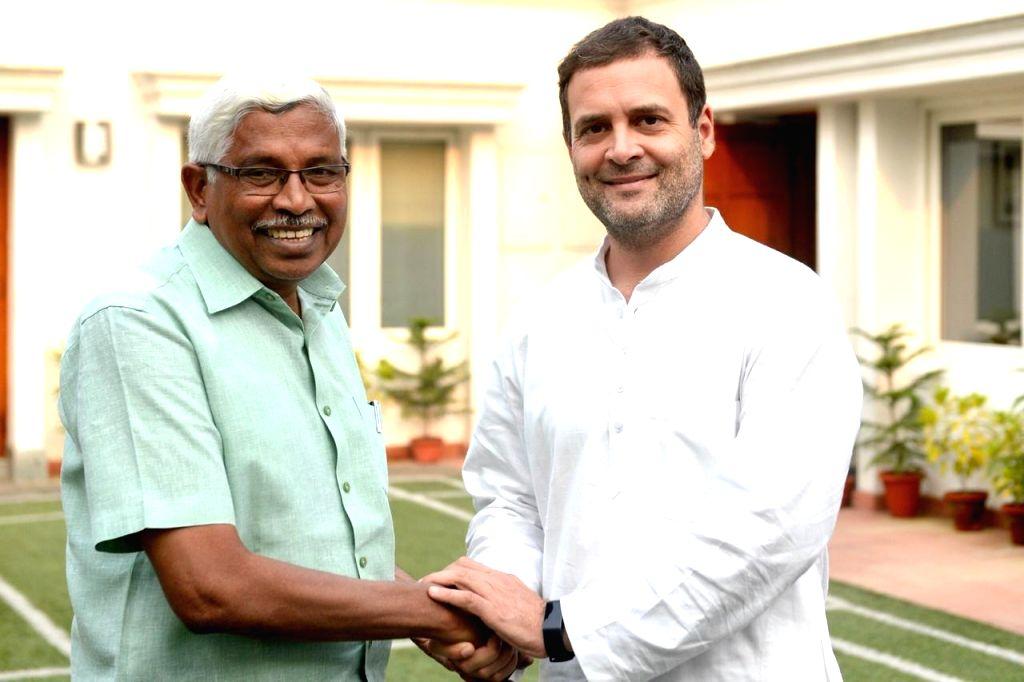 Telangana Jana Samithi President M Kodandaram meets Congress President Rahul Gandhi in New Delhi, on Nov 2, 2018. - Rahul Gandhi