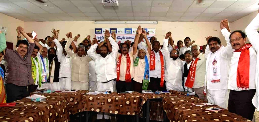 Telangana Jana Samithi (TJS) leader M. Kodandaram during a programme where he announced to invite all the political parties to start democratic struggle against the autocratic attitude ...